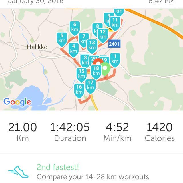 Lauantai illan juoksu. Vähän venähti ja tuli puoli maratoni yllättäen.  )  Kesällä viimeks juossu ilman reppua niin olikin mukava vaihtelu. 3ab4a25e2d
